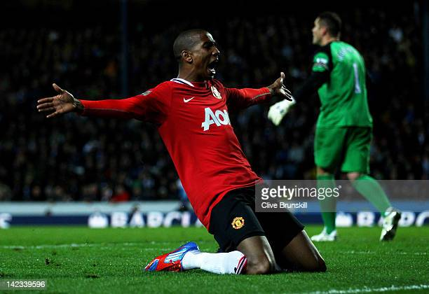 Ashley Young of Manchester United celebrates scoring his team's second goal during the Barclays Premier League match between Blackburn Rovers and...