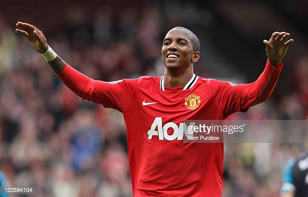 Ashley Young of Manchester United celebrates scoring their eighth goal during the Barclays Premier League match between Manchester United and Arsenal...