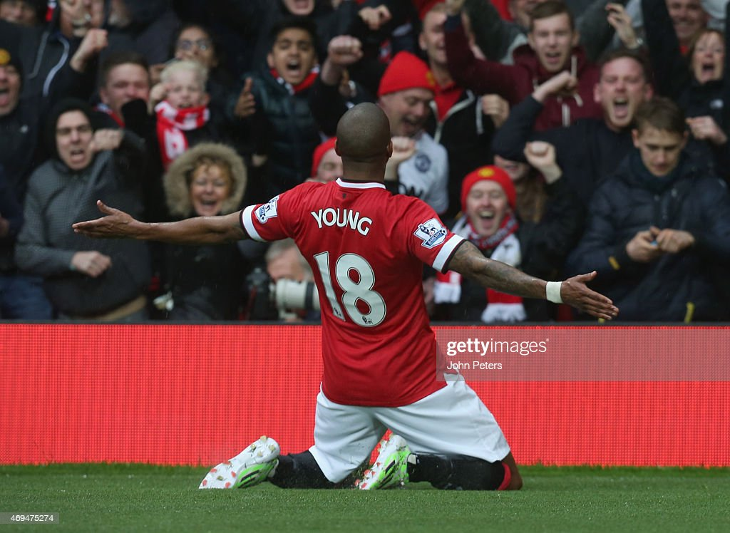 <a gi-track='captionPersonalityLinkClicked' href=/galleries/search?phrase=Ashley+Young&family=editorial&specificpeople=623155 ng-click='$event.stopPropagation()'>Ashley Young</a> of Manchester United celebrates scoring their first goal during the Barclays Premier League match between Manchester United and Manchester City at Old Trafford on April 12, 2015 in Manchester, England.