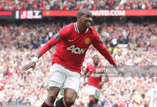 Ashley Young of Manchester United celebrates scoring their second goal during the Barclays Premier League match between Manchester United and Arsenal...