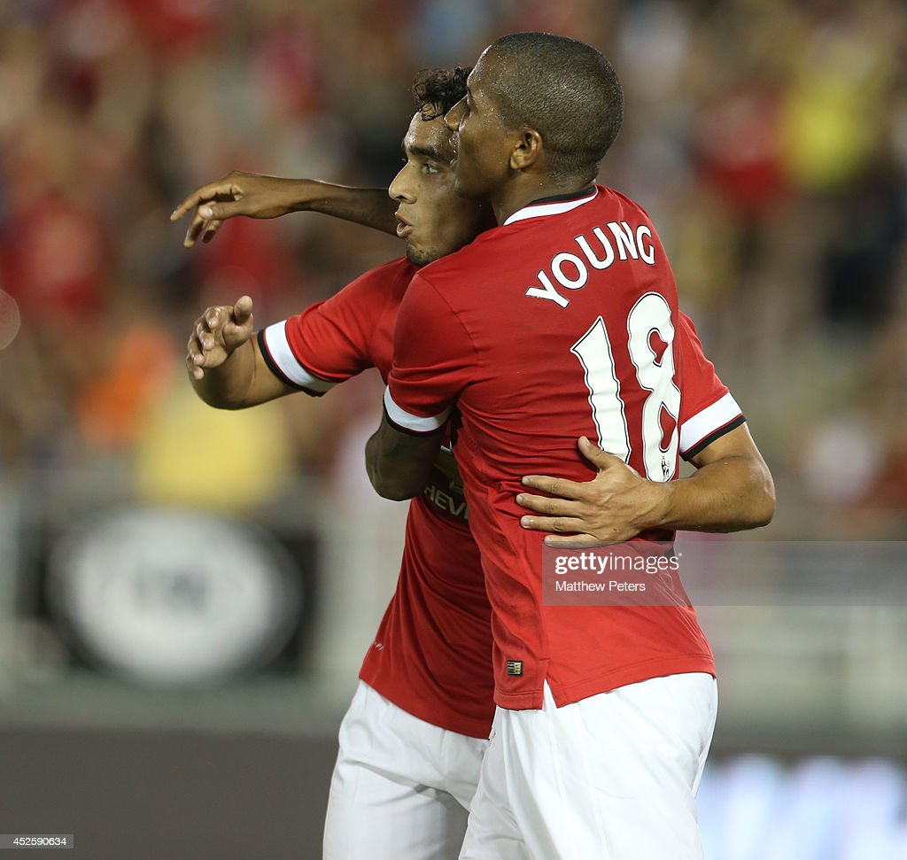 <a gi-track='captionPersonalityLinkClicked' href=/galleries/search?phrase=Ashley+Young&family=editorial&specificpeople=623155 ng-click='$event.stopPropagation()'>Ashley Young</a> of Manchester United celebrates scoring their sixth goal during the pre-season friendly match between Los Angeles Galaxy and Manchester United at Rose Bowl on July 23, 2014 in Pasadena, California.