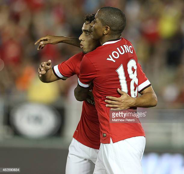 Ashley Young of Manchester United celebrates scoring their sixth goal during the preseason friendly match between Los Angeles Galaxy and Manchester...