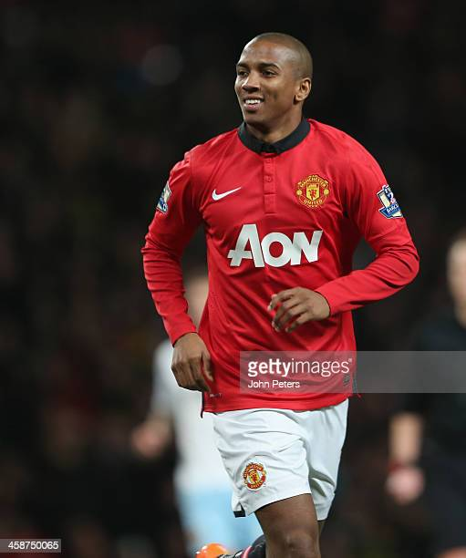 Ashley Young of Manchester United celebrates scoring their third goal during the Barclays Premier League match between Manchester United and West Ham...