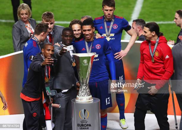 Ashley Young of Manchester United Eric Bailly of Manchester United Daley Blind of Manchester United and Chris Smalling of Manchester United all take...