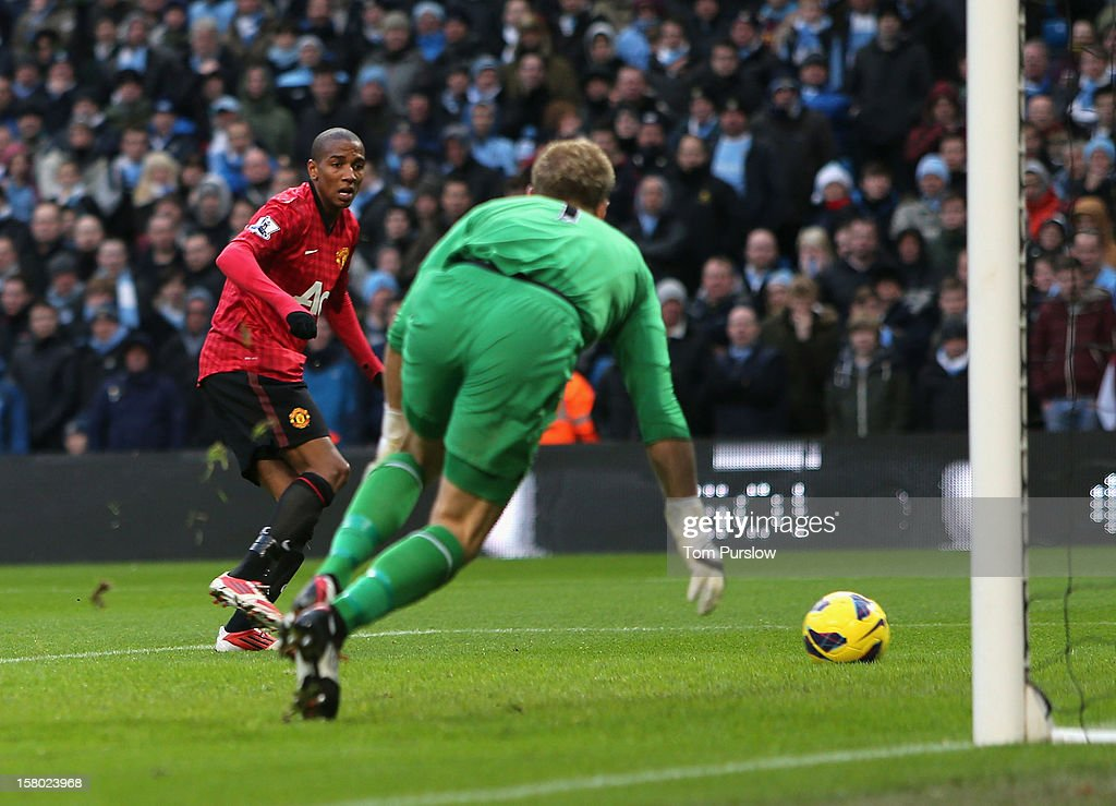Ashley Young of Manchester United has a shot on goal during the Barclays Premier League match between Manchester City and Manchester United at Etihad Stadium on December 9, 2012 in Manchester, England.