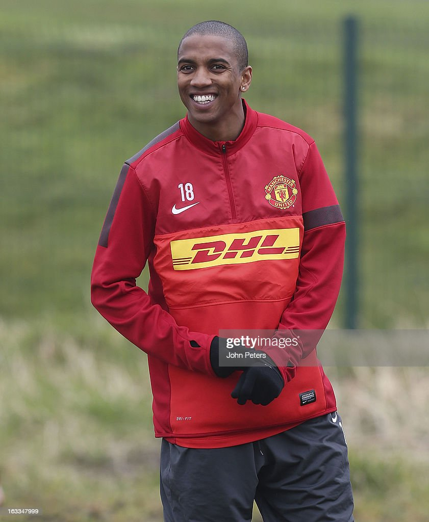 Ashley Young of Manchester United in action during a first team training session at Carrington Training Ground on March 8, 2013 in Manchester, England.