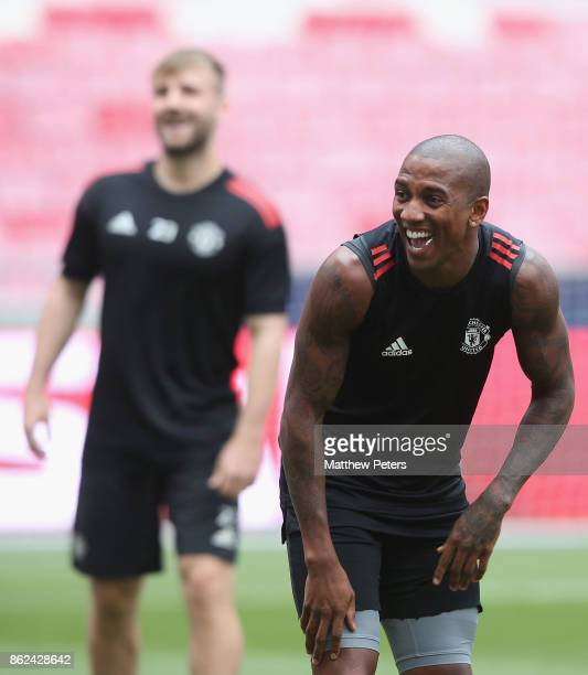 Ashley Young of Manchester United in action during a training session ahead of their UEFA Champions League match against Benfica on October 17 2017...