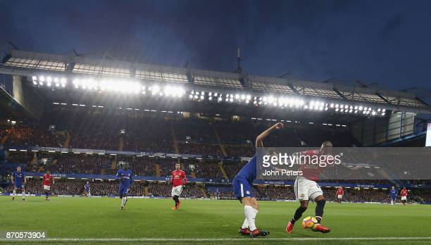 Ashley Young of Manchester United in action with Davide Zappacosta of Chelsea during the Premier League match between Chelsea and Manchester United...