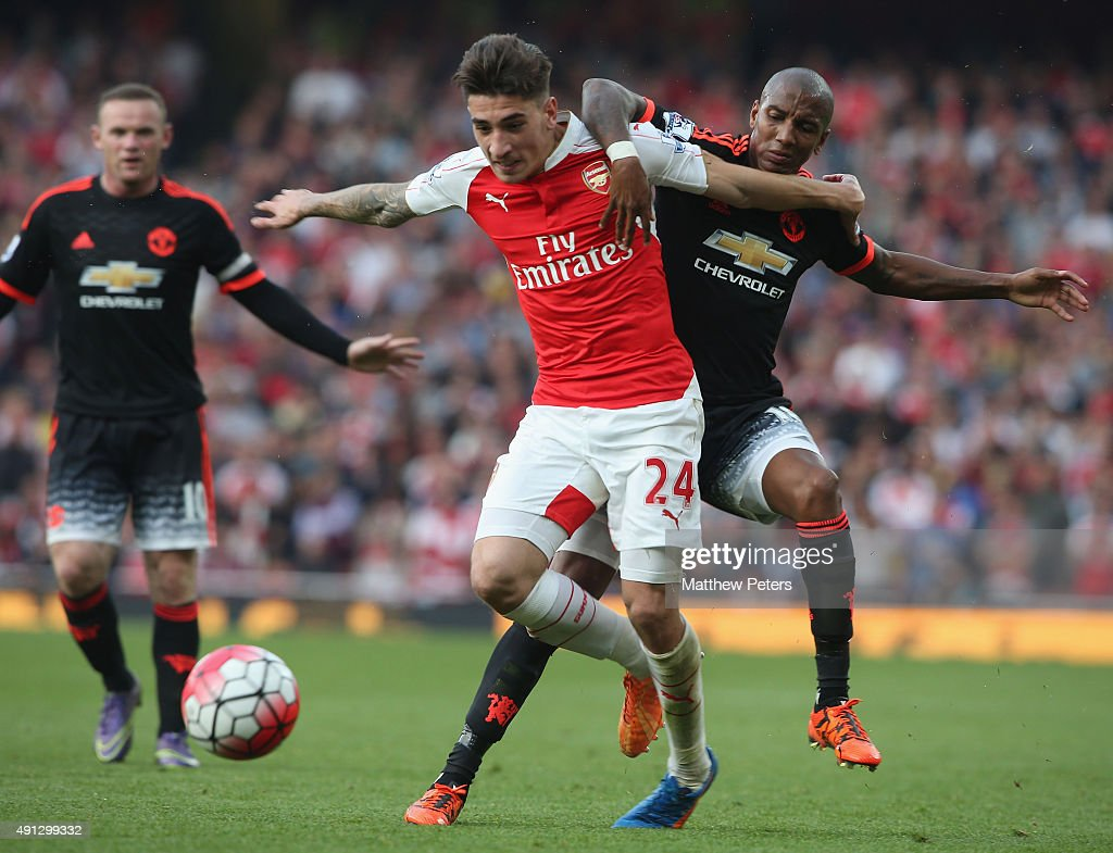 Ashley Young of Manchester United in action with Hector Bellerin of Arsenal during the Barclays Premier League match between Arsenal and Manchester United at Emirates Stadium on October 4, 2015 in London, England