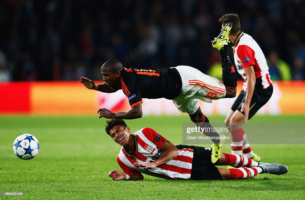 Ashley Young of Manchester United is fouled by Hector Moreno of PSV Eindhoven during the UEFA Champions League Group B match between PSV Eindhoven...