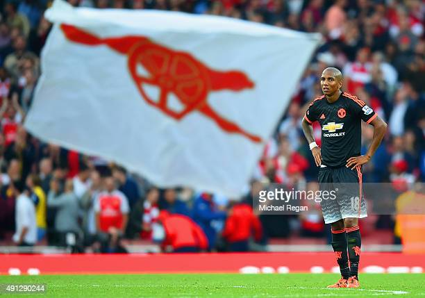 Ashley Young of Manchester United looks dejected after the Barclays Premier League match between Arsenal and Manchester United at Emirates Stadium on...