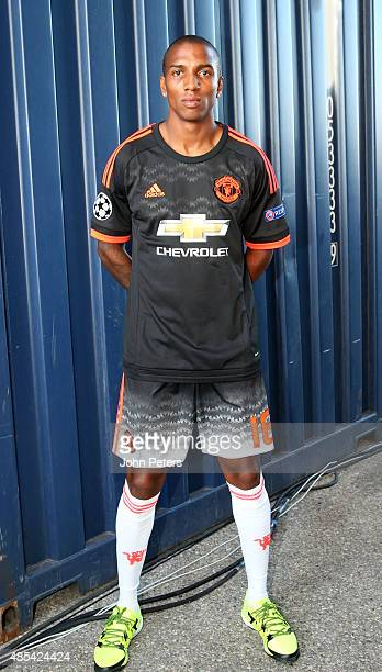 Ashley Young of Manchester United poses at the official launch of the Manchester United third kit in Marseille on August 27 2015 in Marseille France