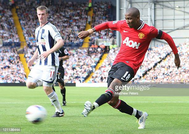 Ashley Young of Manchester United scores their second goal during the Barclays Premier League match between West Bromwich Albion and Manchester...