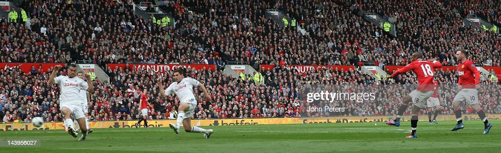 Ashley Young of Manchester United scores their second goal during the Barclays Premier League match between Manchester United and Swansea City at Old Trafford on May 6, 2012 in Manchester, England.