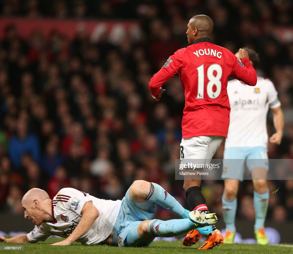 <a gi-track='captionPersonalityLinkClicked' href=/galleries/search?phrase=Ashley+Young&family=editorial&specificpeople=623155 ng-click='$event.stopPropagation()'>Ashley Young</a> of Manchester United scores their third goal during the Barclays Premier League match between Manchester United and West Ham United at Old Trafford on December 21, 2013 in Manchester, England.