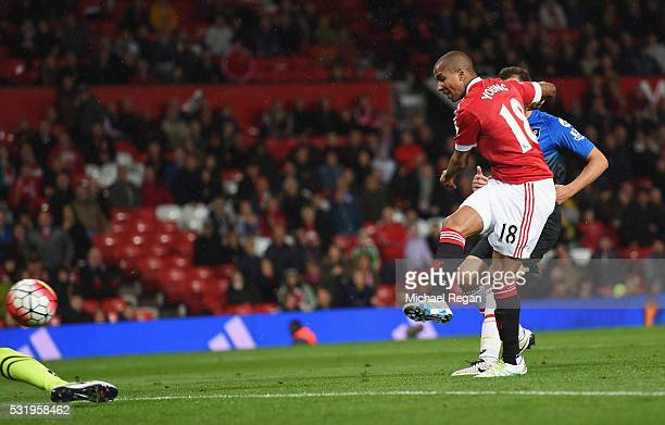 Ashley Young of Manchester United scores their third goal during the Barclays Premier League match between Manchester United and AFC Bournemouth at...