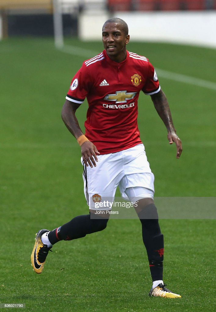 Ashley Young of Manchester United U23s in action during the Premier League 2 match between Manchester United U23s and Swansea City U23s at Leigh Sports Village on August 21, 2017 in Leigh, Greater Manchester.