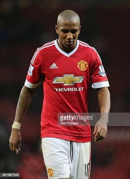 Ashley Young of Manchester United walks off after the Barclays Premier League match between Manchester United and Norwich City at Old Trafford on...