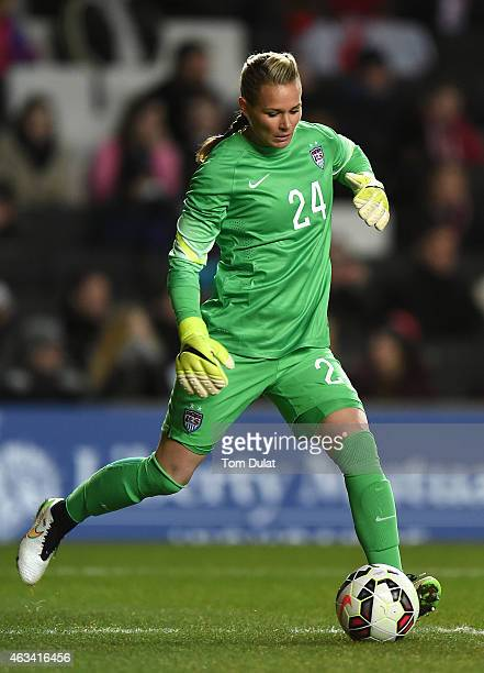 Ashlyn Harris of the United States in action during the Women's Friendly International match between England and USA at Stadium mk on February 13...