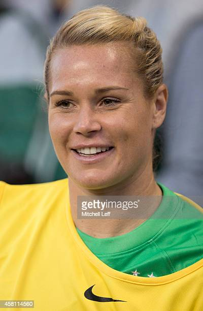 Ashlyn Harris of the United States stands on the sidelines prior to the game against Costa Rica in the 2014 CONCACAF Women's Championship final on...
