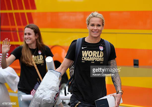 Ashlyn Harris of the US Women's national team arrives at Los Angeles International Airport after winning the FIFA Women's World Cup July 6 2015 in...