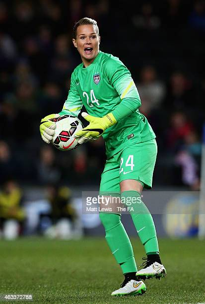 Ashlyn Harris of the USA in action during a Women's International Friendly match between England and the USA at Stadium mk on February 13 2015 in...