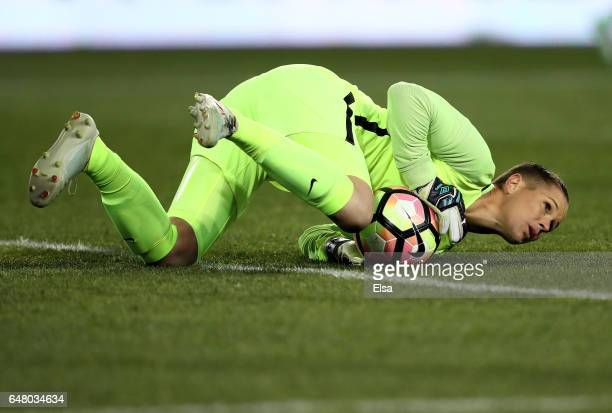 Ashlyn Harris of the USA stops a shot in the first half against England during the SheBelieves Cup at Red Bull Arena on March 4 2017 in Harrison New...