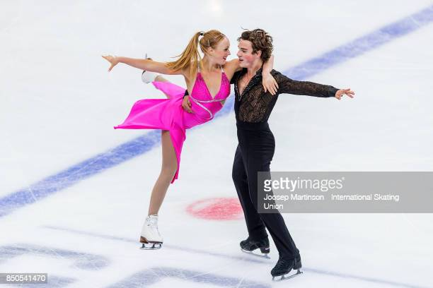 Ashlynne Stairs and Lee Royer of Canada compete in the Junior Ice Dance Short Dance during day one of the ISU Junior Grand Prix of Figure Skating at...