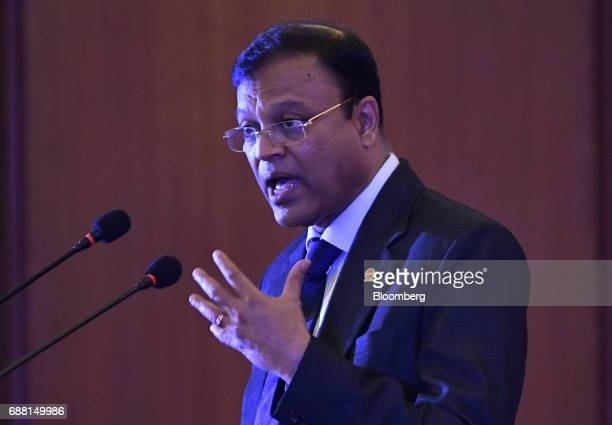 B Ashok chairman of Indian Oil Corp gestures while speaking during a news conference in New Delhi India on Thursday May 25 2017 Indian Oils...