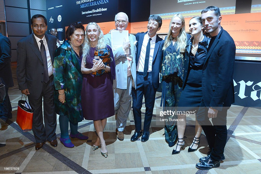 Ashok Som, ESSEC Professor and Associate Dean, Suzy Menkes, International Herald Tribune Fashion Editor, Franca Sozzani, Editor-in-Chief of Vogue Italia, Manolo Blahnik, Pierpaolo Piccioli, Valentino Creative Dirtector, Frida Giannini, Gucci Creative Director, Maria Grazia Chiuri, Valentino Creative Dirtector, and Giambattista Valli attend the third day of the 2012 International Herald Tribune's Luxury Business Conference held at Rome Cavalieri on November 16, 2012 in Rome, Italy. The 12th annual IHT Luxury conference is the premier meeting point for the luxury industry. 500 delegates from 30 countries have gathered in Rome to hear from the world's most inspirational fashion designers and luxury business leaders.