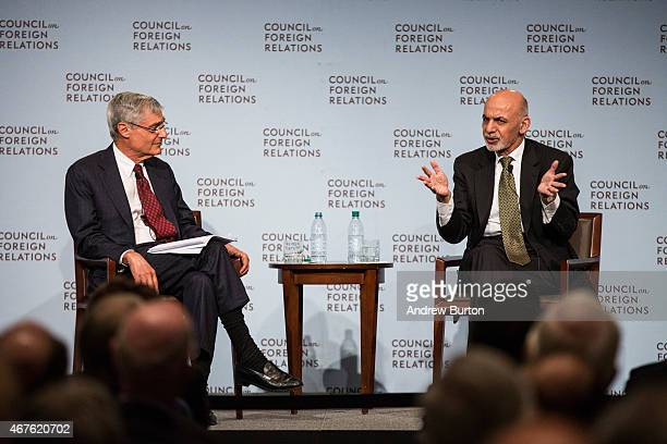 Ashraf Ghani President of Afghanistan speaks next to former US Secretary of Treasury Robert Rubin at the Council On Foreign Relations on March 26...