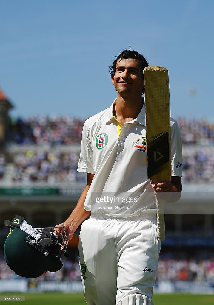 Ashton Agar of Australia acknowledges the crowd after being dismissed by Stuart Broad of England for 98 runs during day two of the 1st Investec Ashes Test match between England and Australia at Trent Bridge Cricket Ground on July 11, 2013 in Nottingham, England.