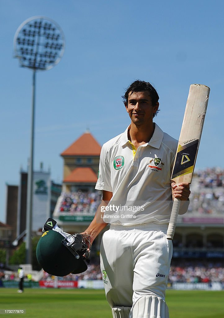 <a gi-track='captionPersonalityLinkClicked' href=/galleries/search?phrase=Ashton+Agar&family=editorial&specificpeople=9101391 ng-click='$event.stopPropagation()'>Ashton Agar</a> of Australia acknowledges the crowd after being dismissed by Stuart Broad of England for 98 runs during day two of the 1st Investec Ashes Test match between England and Australia at Trent Bridge Cricket Ground on July 11, 2013 in Nottingham, England.