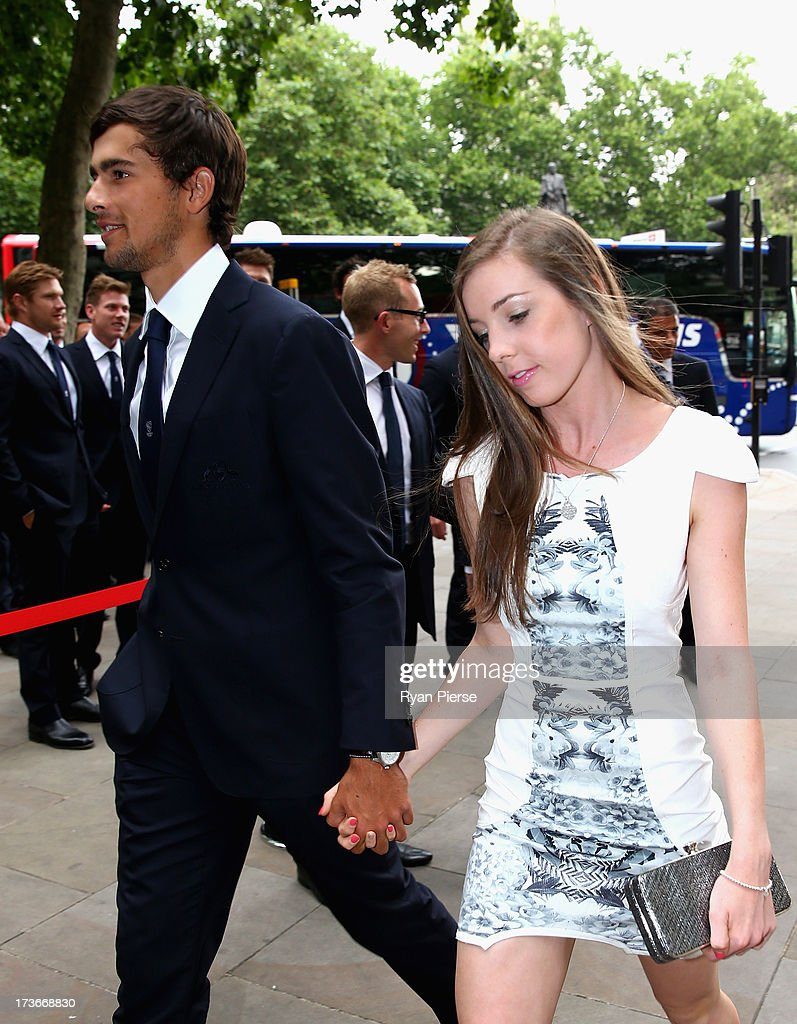 Ashton Agar of Australia and his girlfriend Madi Hay arrive for the Australian Cricket Team visit to the Australian High Commision on July 16, 2013 in London, England.