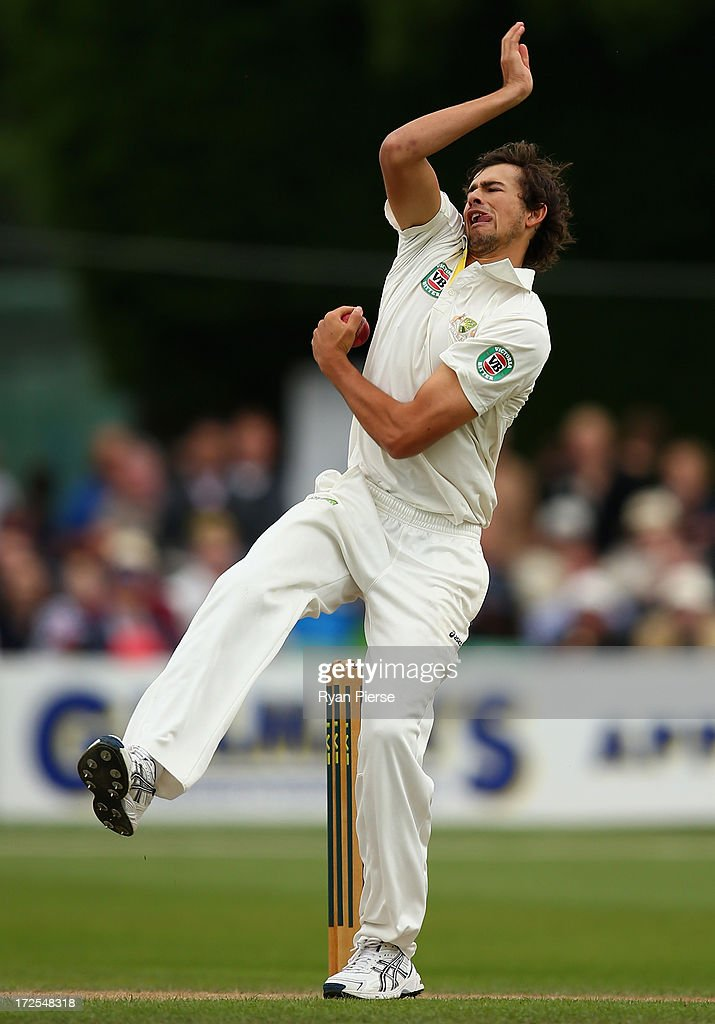 Ashton Agar of Australia bowls during day two of the Tour Match between Worcestershire and Australia at New Road at New Road on July 3, 2013 in Worcester, England.