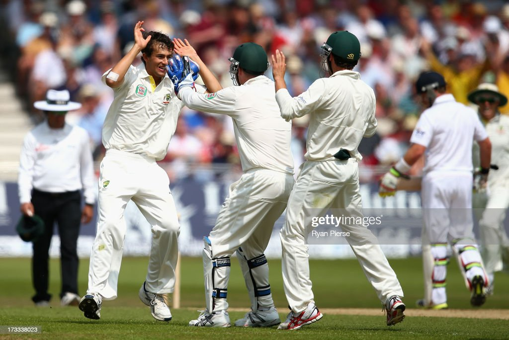 <a gi-track='captionPersonalityLinkClicked' href=/galleries/search?phrase=Ashton+Agar&family=editorial&specificpeople=9101391 ng-click='$event.stopPropagation()'>Ashton Agar</a> of Australia celebrates after taking his first test wicket, Alastair Cook of England, during day three of the 1st Investec Ashes Test match between England and Australia at Trent Bridge Cricket Ground on July 12, 2013 in Nottingham, England.