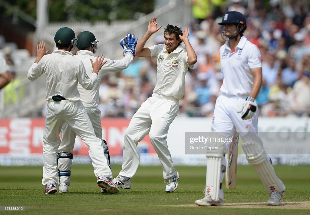 <a gi-track='captionPersonalityLinkClicked' href=/galleries/search?phrase=Ashton+Agar&family=editorial&specificpeople=9101391 ng-click='$event.stopPropagation()'>Ashton Agar</a> of Australia celebrates the wicket of <a gi-track='captionPersonalityLinkClicked' href=/galleries/search?phrase=Alastair+Cook+-+Cricket+Player&family=editorial&specificpeople=571475 ng-click='$event.stopPropagation()'>Alastair Cook</a> of England during day three of the 1st Investec Ashes Test match between England and Australia at Trent Bridge Cricket Ground on July 12, 2013 in Nottingham, England.