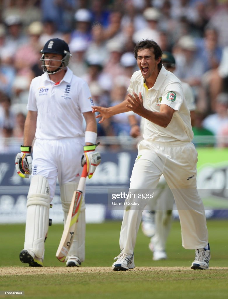 <a gi-track='captionPersonalityLinkClicked' href=/galleries/search?phrase=Ashton+Agar&family=editorial&specificpeople=9101391 ng-click='$event.stopPropagation()'>Ashton Agar</a> of Australia celebrates the wicket of Jonny Bairstow of England (not in picture) during day three of the 1st Investec Ashes Test match between England and Australia at Trent Bridge Cricket Ground on July 12, 2013 in Nottingham, England.