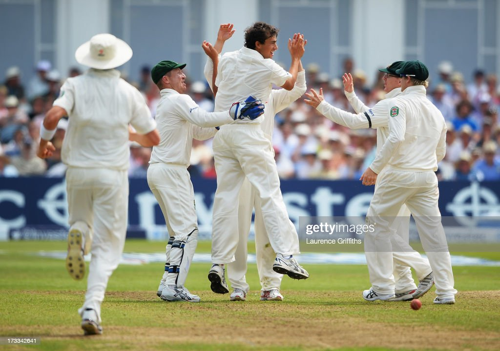 <a gi-track='captionPersonalityLinkClicked' href=/galleries/search?phrase=Ashton+Agar&family=editorial&specificpeople=9101391 ng-click='$event.stopPropagation()'>Ashton Agar</a> of Australia celebrates the wicket of Jonny Bairstow of England with team mates during day three of the 1st Investec Ashes Test match between England and Australia at Trent Bridge Cricket Ground on July 12, 2013 in Nottingham, England.