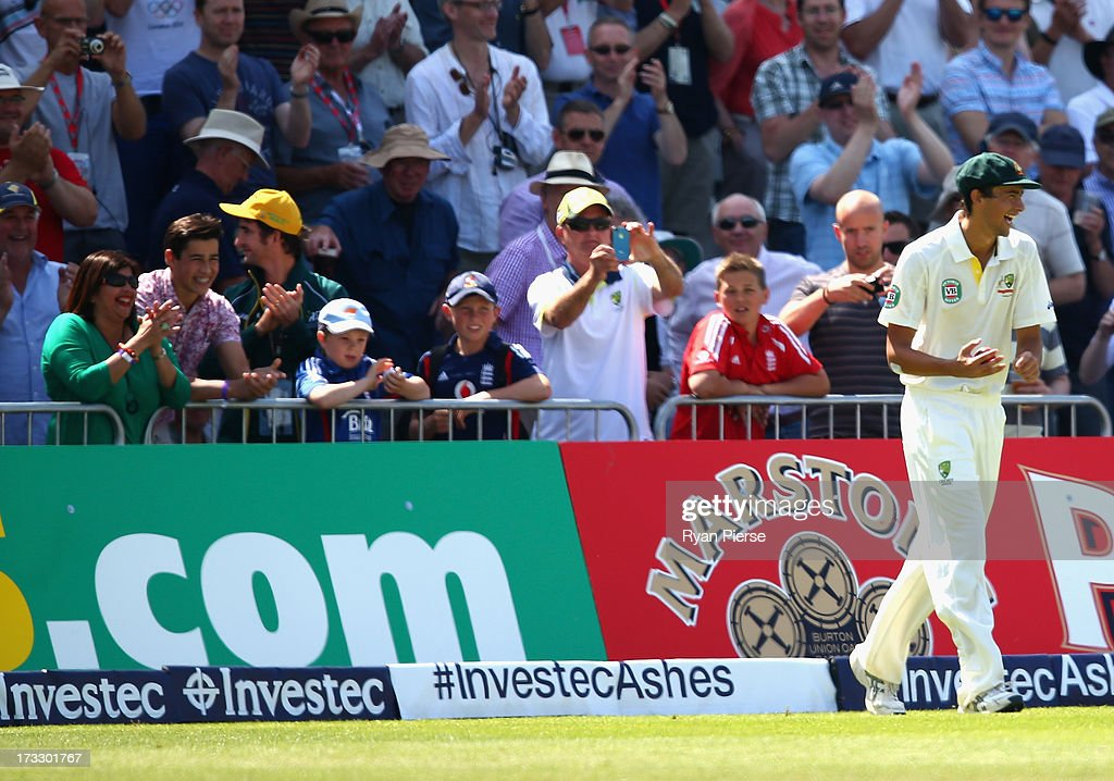 Ashton Agar of Australia fields in front of his parents and brothers (pictured left) during day two of the 1st Investec Ashes Test match between England and Australia at Trent Bridge Cricket Ground on July 11, 2013 in Nottingham, England.