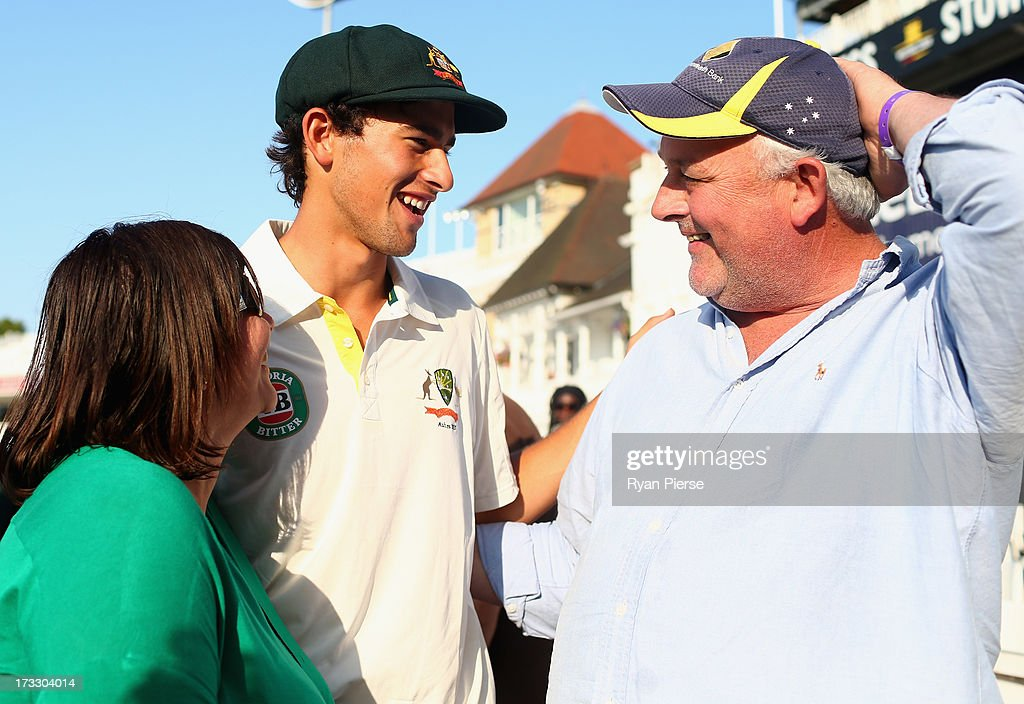 <a gi-track='captionPersonalityLinkClicked' href=/galleries/search?phrase=Ashton+Agar&family=editorial&specificpeople=9101391 ng-click='$event.stopPropagation()'>Ashton Agar</a> of Australia is congatulated by his parents John and Sonia after day two of the 1st Investec Ashes Test match between England and Australia at Trent Bridge Cricket Ground on July 11, 2013 in Nottingham, England.