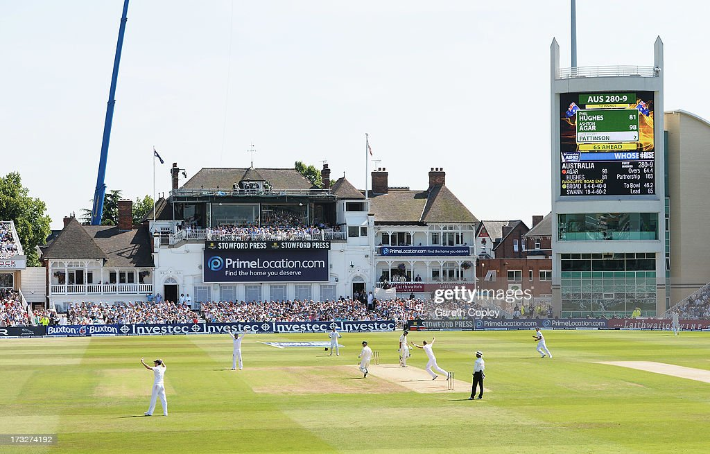 Ashton Agar of Australia is dismissed by <a gi-track='captionPersonalityLinkClicked' href=/galleries/search?phrase=Stuart+Broad&family=editorial&specificpeople=574360 ng-click='$event.stopPropagation()'>Stuart Broad</a> of England for 98 runs during day two of the 1st Investec Ashes Test match between England and Australia at Trent Bridge Cricket Ground on July 11, 2013 in Nottingham, England.