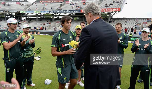 Ashton Agar of Australia is presented with his 1st ODI cap by Tom Moody ahead of the 3rd Royal London OneDay International match between England and...