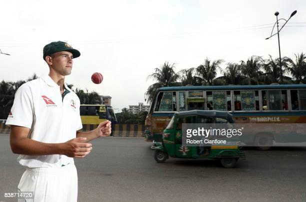 Ashton Agar of Australia poses for a portrait on August 25 2017 in Dhaka Bangladesh