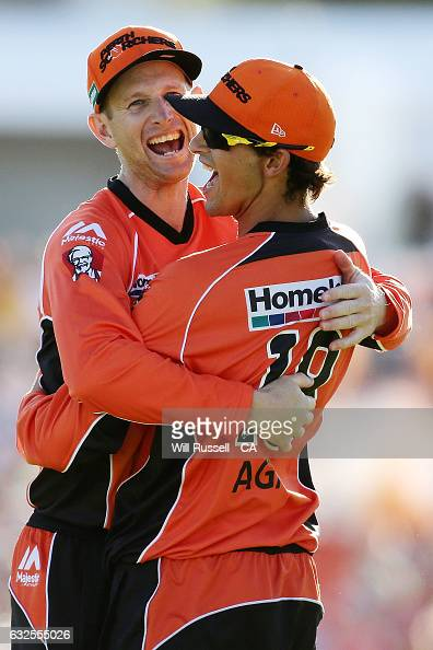 Ashton Agar of the Scorchers celebrates after taking a catch to dismiss Seb Gotch of the Stars off the bowling of Tim Bresnan of the Scorchers during...