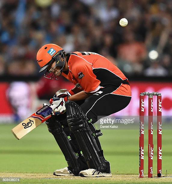 Ashton Agar of the Scorchers is struck on the arm by a delivery from Billy Stanlake of the Adelaide Strikers during the Big Bash League match between...