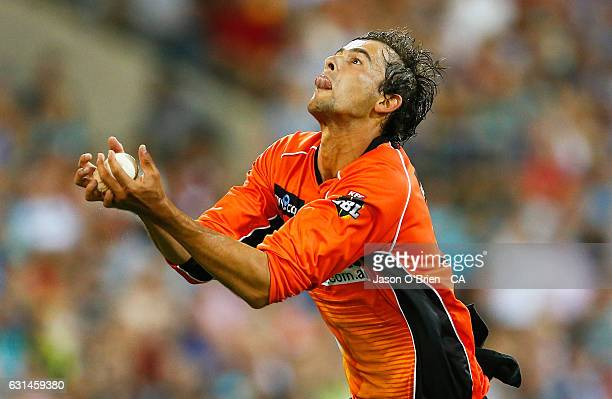 Ashton Agar of the Scorchers takes the catch to dismiss Joe Burns of the Heat during the Big Bash League match between the Brisbane Heat and the...