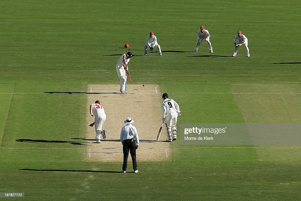 <a gi-track='captionPersonalityLinkClicked' href=/galleries/search?phrase=Ashton+Agar&family=editorial&specificpeople=9101391 ng-click='$event.stopPropagation()'>Ashton Agar</a> of the Warriors bats during day one of the Sheffield Shield match between the Redbacks and the Warriors at Adelaide Oval on November 13, 2013 in Adelaide, Australia.