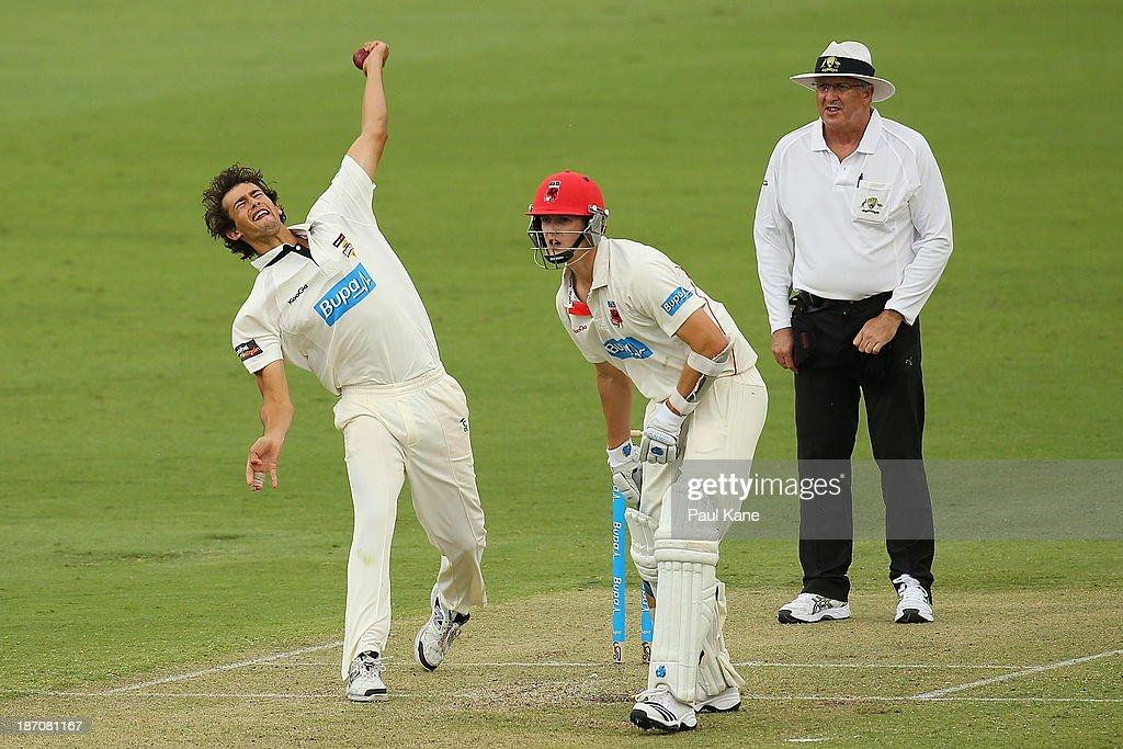 <a gi-track='captionPersonalityLinkClicked' href=/galleries/search?phrase=Ashton+Agar&family=editorial&specificpeople=9101391 ng-click='$event.stopPropagation()'>Ashton Agar</a> of the Warriors bowls during day one of the Sheffield Shield match between the Western Australia Warriors and the South Australia Redbacks at the WACA on November 6, 2013 in Perth, Australia.