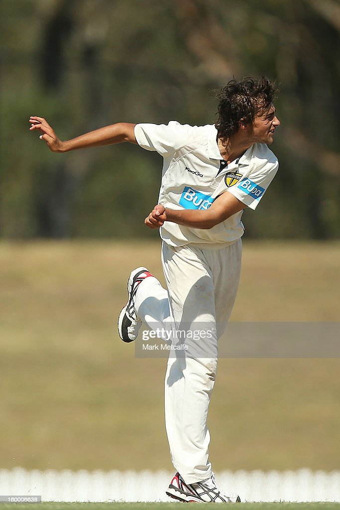Ashton Agar of the Warriors bowls during day two of the Sheffield Shield match between the New South Wales Blues and the Western Australia Warriors at Blacktown International Sportspark on January 25, 2013 in Sydney, Australia.